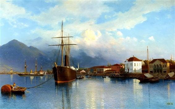 Fond d'écran Peinture, bateau, baie, l'eau, montagnes, ciel, nuages
