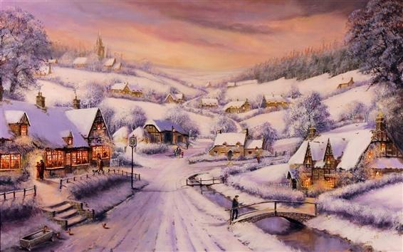 Обои Живопись, зима, снег, дома, дороги, деревья, люди