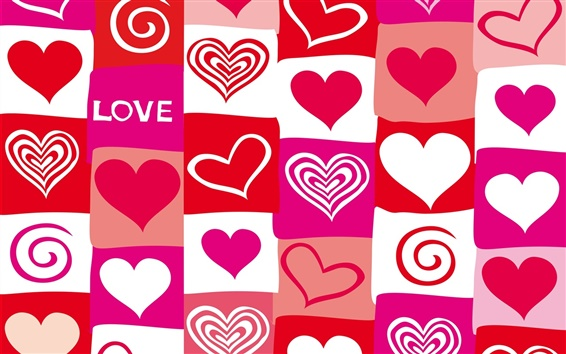 Wallpaper Red and purple love hearts, vector design