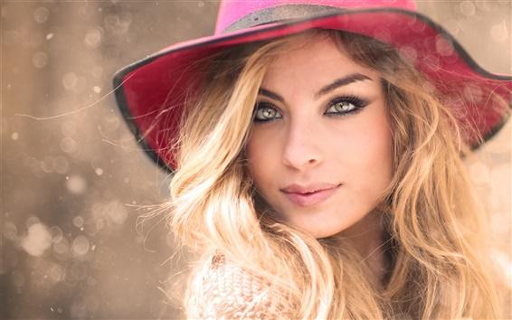 Fond d'écran chapeau rouge, jeune fille blonde, portrait