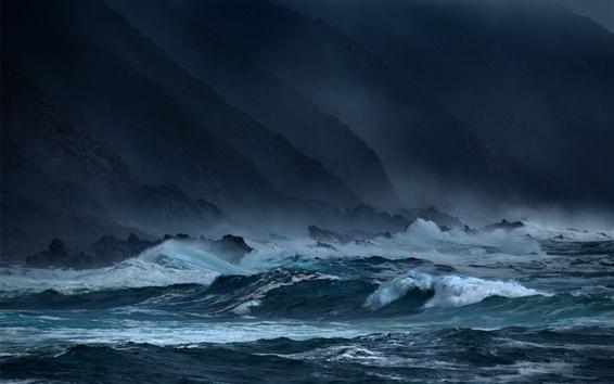 Wallpaper Sea, waves, storms, rocks, dark