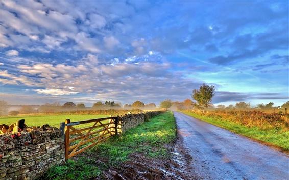Обои Небо, облака, утро, дорога, забор, деревья, трава