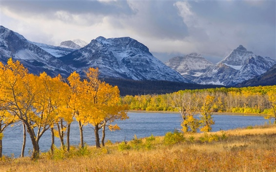 Wallpaper Sky, mountains, lake, forest, trees, autumn, clouds, snow