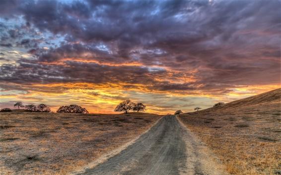 Papéis de Parede Céu, estrada, árvores, nuvens, pôr do sol