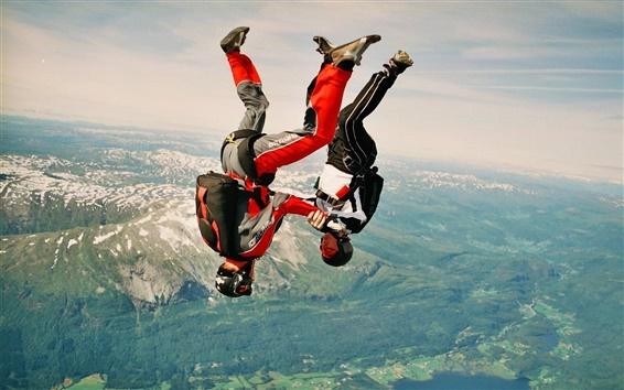 Обои прыгать с парашютом, свободно, горы, долина, небо