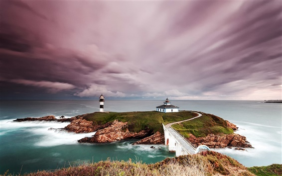 Wallpaper Spain, lighthouse, coast, island, sea, clouds, dusk