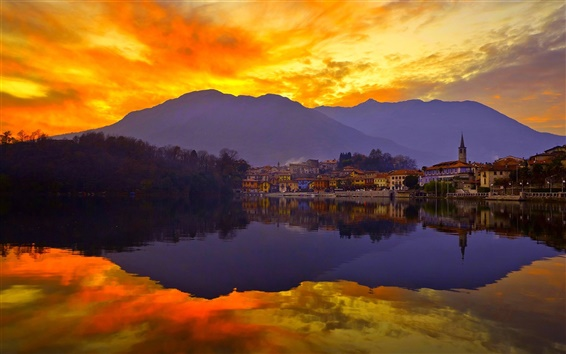 Wallpaper Sunset, sky, mountains, lake, city, water reflection
