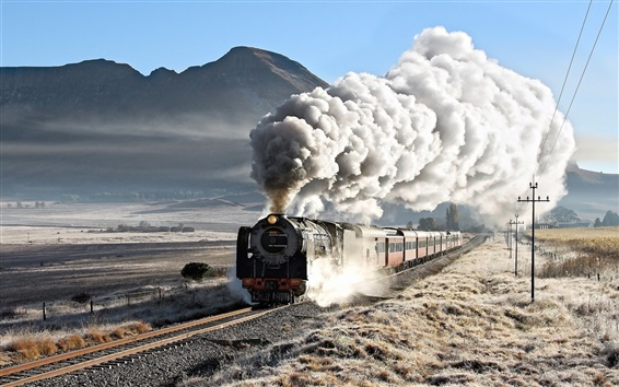 Wallpaper Train, railway, smoky, mountains