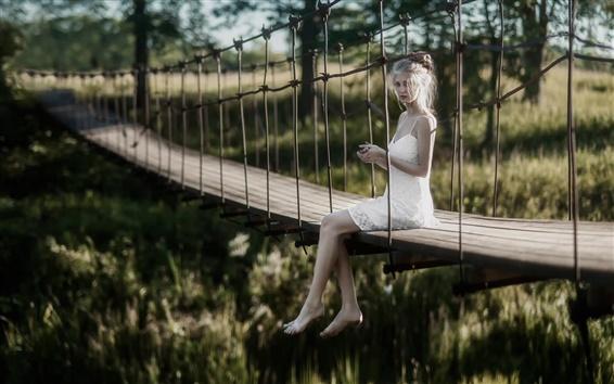 Wallpaper White dress girl, bridge