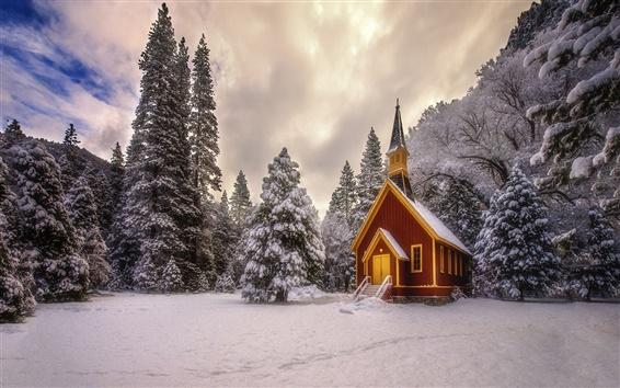 Wallpaper Winter, trees, mountains, snow, hut