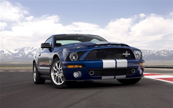 Wallpaper 2008 Shelby GT500 40th Anniversary, Ford Mustang blue car