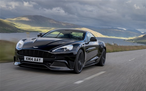 Wallpaper 2014 Aston Martin Vanquish carbon black car speed