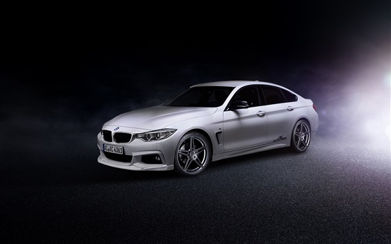 Wallpaper 2014 BMW 4-Series Gran Coupe F36 white car