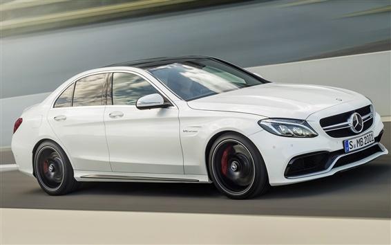 Fond d'écran 2 014 Mercedes-Benz AMG C63 vitesse de la voiture blanche