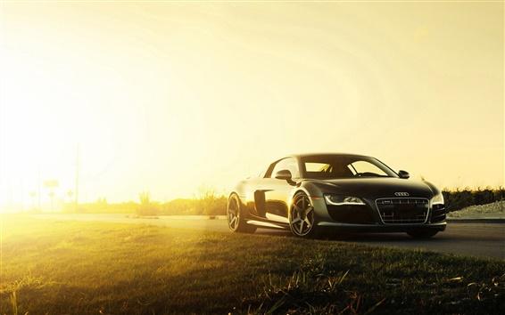 Обои 2 015 Audi R8 V10 черный суперкар на закате