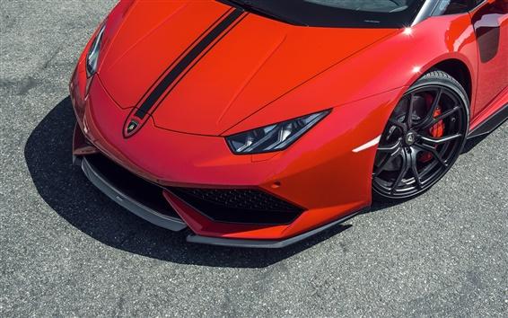 Wallpaper 2015 Lamborghini Huracan red supercar front view