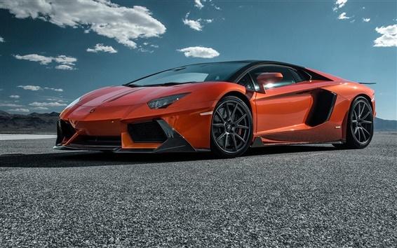 Обои 2 015 Lamborghini LP700-4 оранжевый суперкар вид сбоку