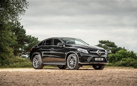 Wallpaper 2015 Mercedes-Benz GLE 4MATIC UK-spec C292 black car