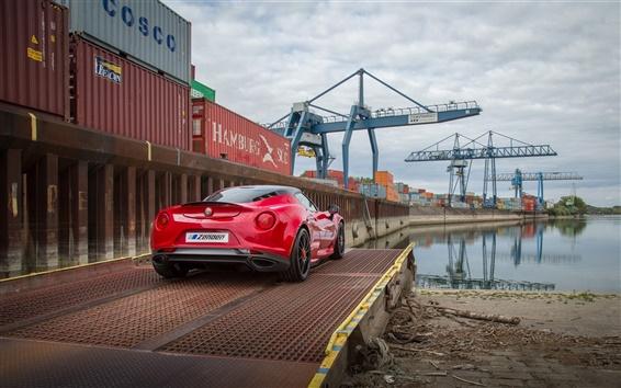 Wallpaper 2015 Zender Alfa Romeo 4C red supercar, rear view, pier