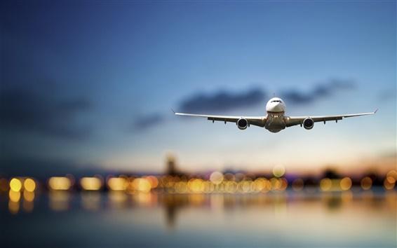 壁紙 飛行機、旅客機、フライト、海、ライト、空港、夜