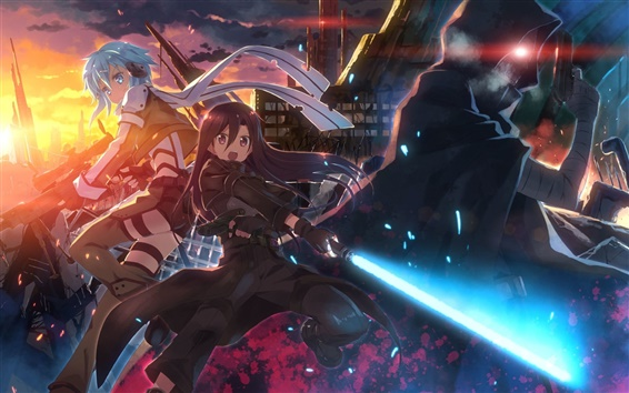 Fond d'écran Anime girls, épée, ville