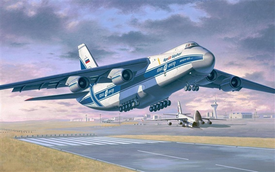 Wallpaper Antonov An-124-100 Ruslan, heavy long-range transport aircraft, art drawing