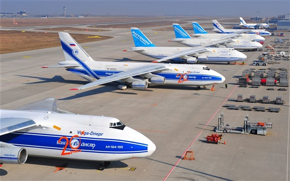 Fondos de pantalla Antonov An-124-100 Ruslan, aviones de transporte pesado, el aeropuerto