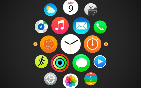 Wallpaper Apple watch, iWatch menu, ios icons
