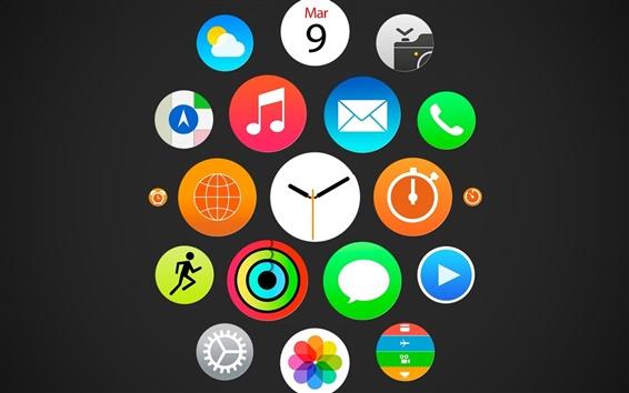 Обои Apple, часы, меню iWatch, IOS иконки