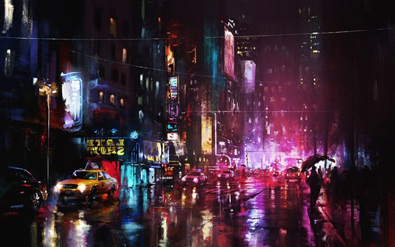 Wallpaper Art painting, night, city, street lights