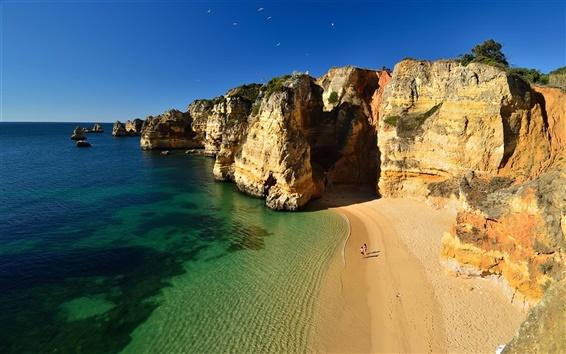 Wallpaper Beach, rocks, ocean, coast, mountains, cliff