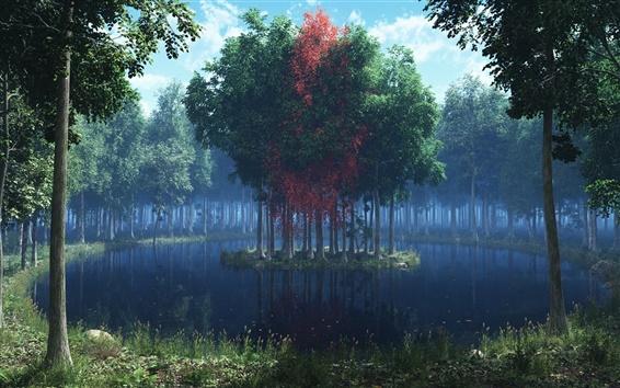 壁紙 美しい景色、湖、島、木、森のレンダリング