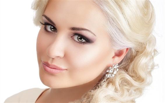 Wallpaper Blonde girl, braid, hair, look, earrings