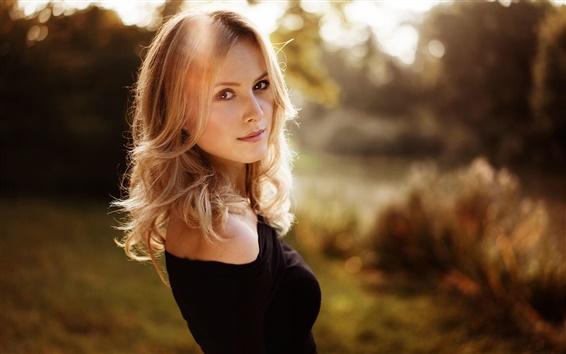 Wallpaper Blonde girl, curly hair