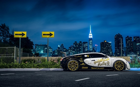 Wallpaper Bugatti Veyron supercar side view, New York, city, night, lights
