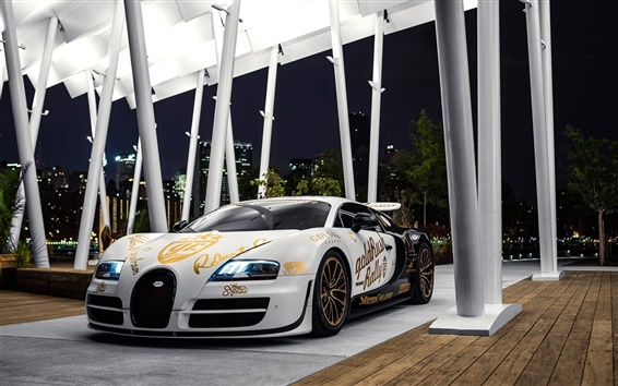 Обои Bugatti Veyron белый суперкар, огни, ночь