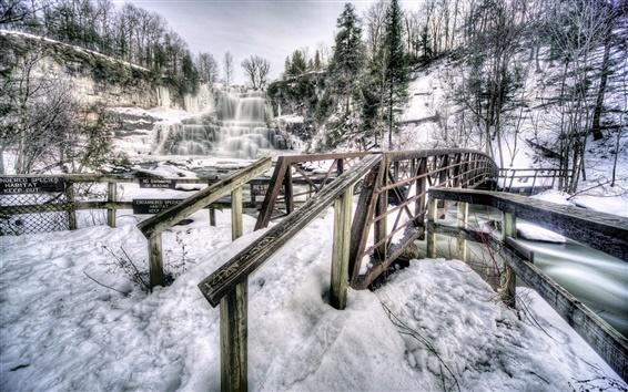 Wallpaper Chittenango Falls State Park, New York, USA, waterfall, winter, snow, bridge