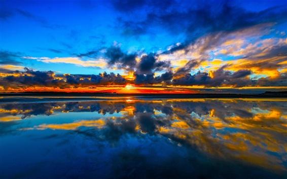 Wallpaper Cook Strait, Manakau, New Zealand, sunset, sea, clouds