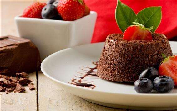 Обои Десерт, торт, клубника, черника, сладкая пища