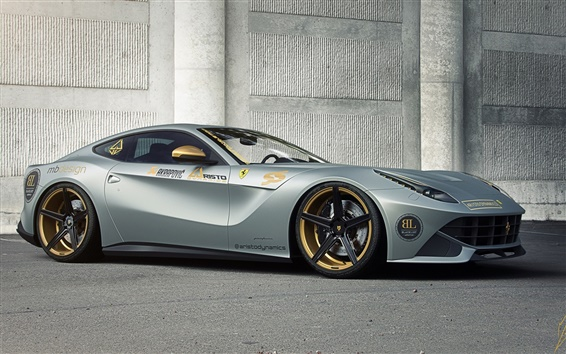 Wallpaper Ferrari F12 Berlinetta silvery supercar 2015