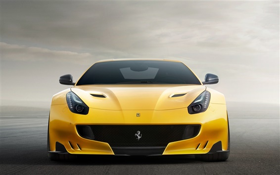 Wallpaper Ferrari F12 yellow supercar front view