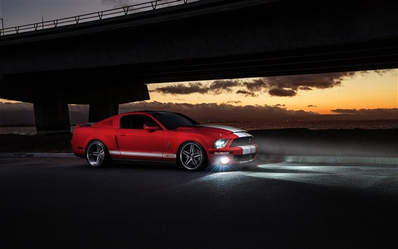 Wallpaper Ford Mustang Shelby GT500 red car at night