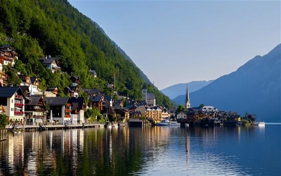 Fondos de pantalla Hallstatt, Alpes, lago, montaña, casas