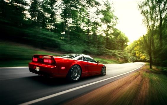 Wallpaper Honda NSX red car in motion