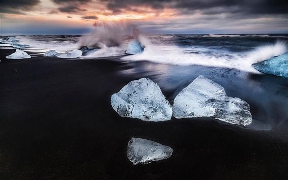 Обои Исландия, лед, пляж, морские волны всплеск, рассвет