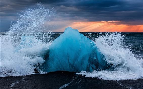Wallpaper Iceland, ice, waves, splashes