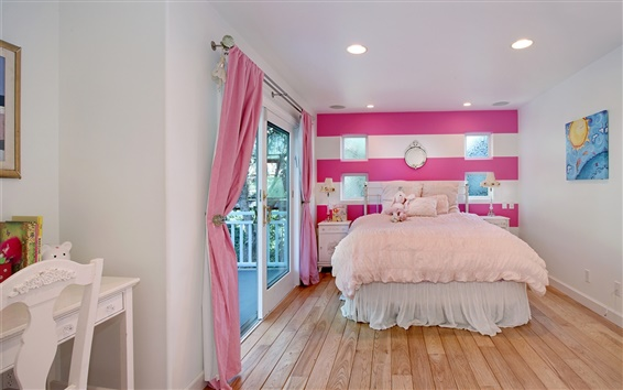 Fondos de pantalla Diseño de interiores, dormitorio, cama