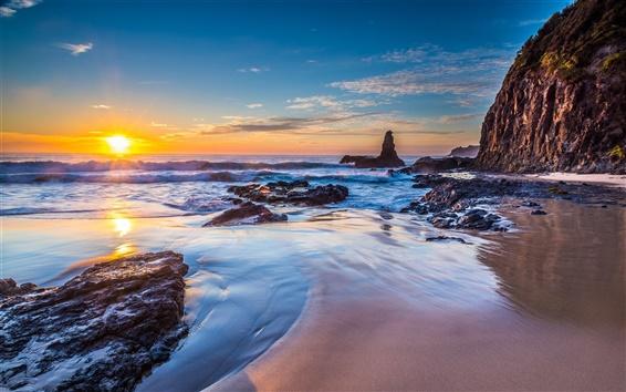 Fondos de pantalla Jones Beach, Kiama Downs, Nueva Gales del Sur, Australia, mar, salida del sol