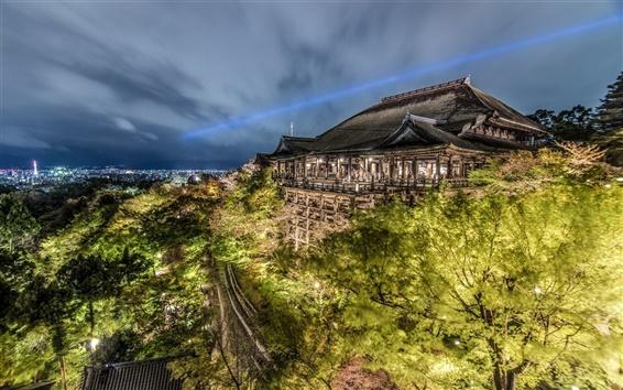 Wallpaper Kiyomizu-dera, Kyoto, Japan, night, temple, trees