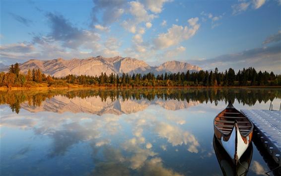 Wallpaper Lake, mountain, forest, marina, boat, water reflection